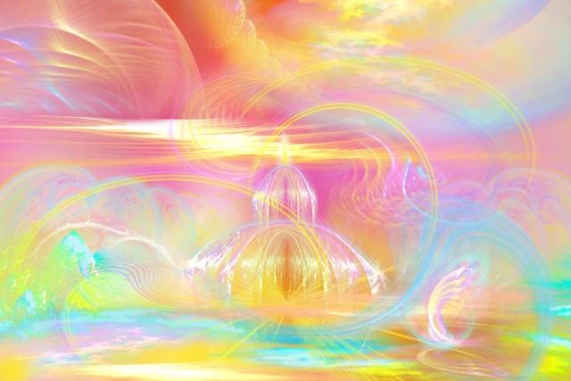 все цвета радуги в пространстве в момент встречи с Наставниками